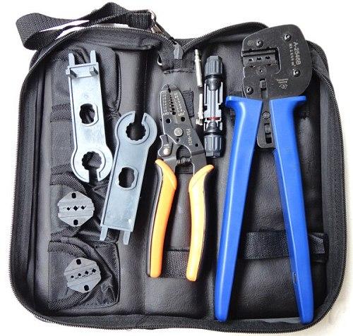 A-K2546B-4 Solar Tool Kit, solar Tool set MC4 crimping tool set with MC3 and tyco crimping die set, cable stripper, MC4 spanner