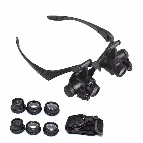 Watch Tools Double Eye Watch Repair Magnifier Loupe Jeweler Magnifying Glasses Tool Set With LED Light 10X 15X 20X 25X