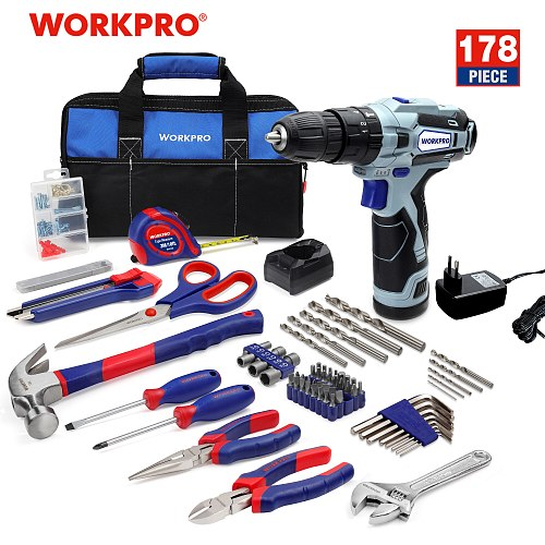 WORKPRO 178 PC Home tool kit with 12V Cordless Drill Electric Screwdriver Wireless Power Driver DC Lithium-Ion Battery