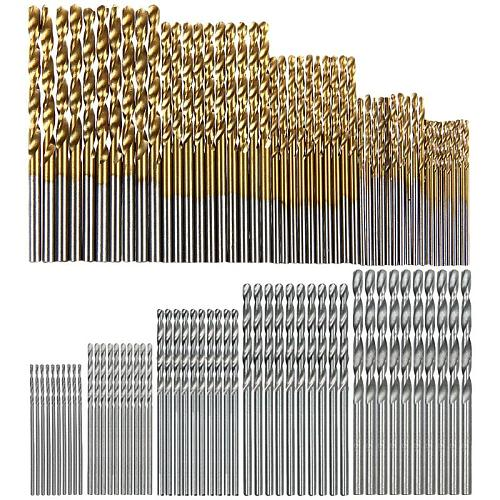 100 Pcs/Set Titanium Coated Twist Drill Bit High Speed Steel Hole Opener Woodworking Metal Plastic Tools Electric Drill