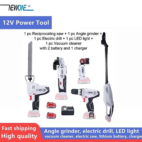 Keinso 12V Angle grinder Electric drill LED light Vacuum cleaner Electric Saw with two lithium battery and one charger