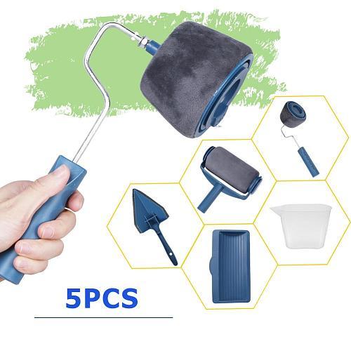 5pcs/set Paint Runner Roller Brush Multi-functional Wall Decorative Paint Roller Brush Set Home Repack Tool Use Easy Handle Tool
