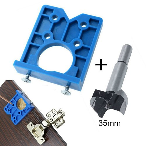35mm Hinge Drilling Jig Concealed Guide Hinge Hole Drilling Guide Locator Woodworking Hole Opener Door Cabinet Accessories Tool