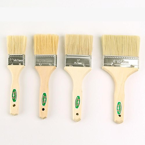 4pcs/Set High quality nylon Mao Banshua oil painting brush, BBQ brush for painting Easy To Clean wooden Thicken cleaning brush