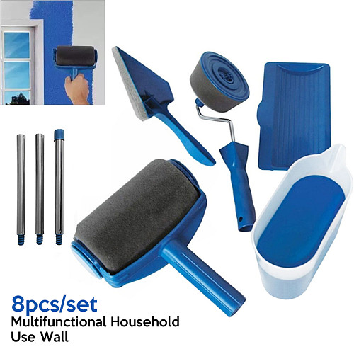 8Pcs Multifunctional Household Use Wall Decorative Paint Roller Brush Handle Tool DIY Easy to Operate Painting Brush Tools