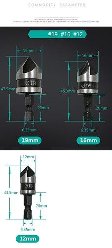3pcs/set 90 Degree 1/4 Hex Shank Drill Bit 5 Flute 12mm 16mm 19mm Woodworking Chamfer Counter Sink Chamfering Debur Countersink