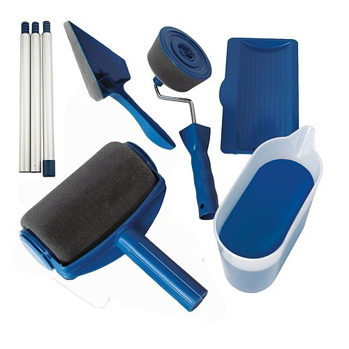 8pcs/set Multi-functional Household Use Wall Decorative Paint Roller Brush Handle Tool DIY Easy to Operate Painting Brush Tools