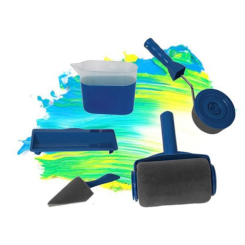 5pcs DIY Paint Roller Brush Tools Set Household Use Wall Decorative Handle Flocked Edger Home Repack Tool with Seam
