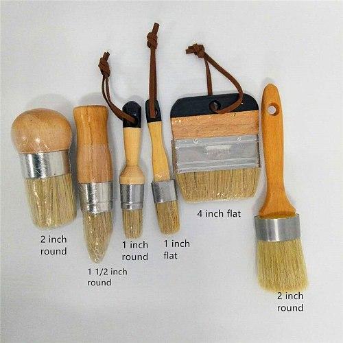 DIY 8PC Wooden Handle Chalk Paint Pointed Brush Bristle Chalk Oil Painting Wax Brush Artist Art Supplies Hand tool set free sh