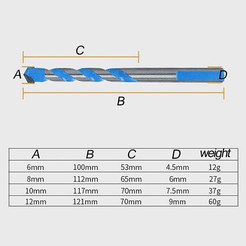 10Pcs Tungsten Carbide Masonry Drill Bit Set for Metal Steel Porcelain Ceramic Tile Concrete Brick Plastic Wood (6 8 10 12mm)