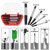 Free Shipping 5pcs/lot Screw Extractors Broken Damaged  Screw Extractor Drill Bit Guide Set Broken Bolt Remover Easy Out Set