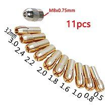 11 Pieces Brass Dremel Collet Mini Drill Chucks Including 0.5/0.8/1.0/1.6/1.8/2.0/2.2/2.4/3.0/3.2mm