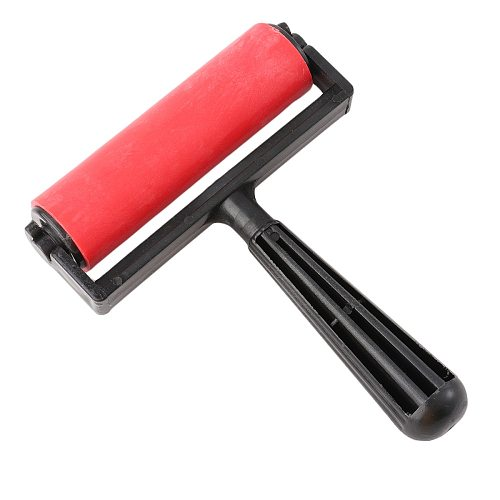 10cm Printmaking Rubber Roller Soft Brayer Craft Projects Ink and Stamping Tools (Red)