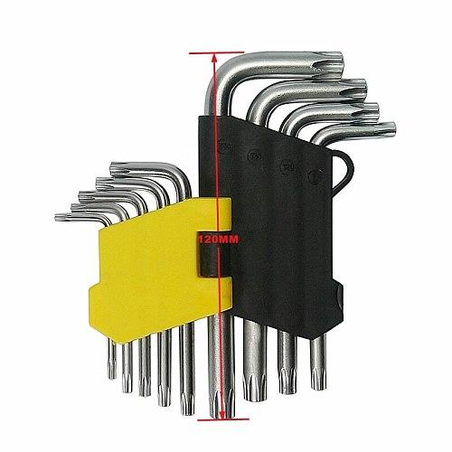 9Pcs/ Set Torque Wrench L-shaped hexagon wrench Torx Socket Hexagon Key T10-T50 Universal Hex Key Wrench Set
