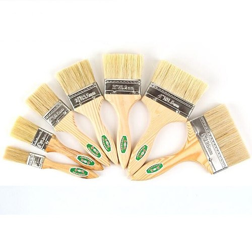 9pcs/Set High quality nylon Mao Banshua oil painting brush, BBQ brush for painting art Easy To Clean wooden cleaning brush