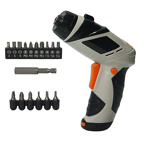 Mini 6V Battery Operated Cordless Electric Screwdriver with LED Lighting Bidirectional Switch 16pcs head