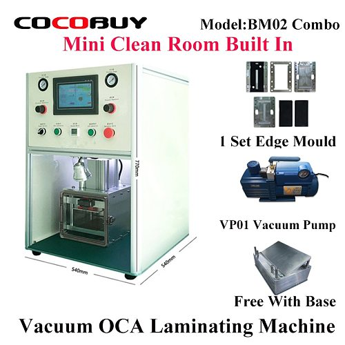 YMJ LCD Front Glass Screen OCA Vacuum laminating machine for Built in Clean Room for iphone samsung  Automatic laminating Combo