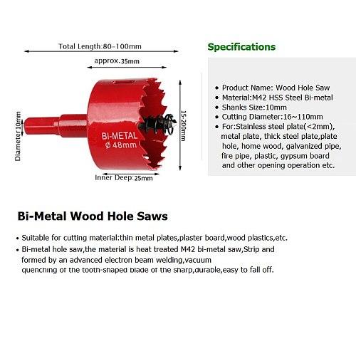 Free shipping 16-200mm 1 Piece Bi-Metal Wood Hole Saws Bit for Woodworking DIY Wood Cutter Drill Bit