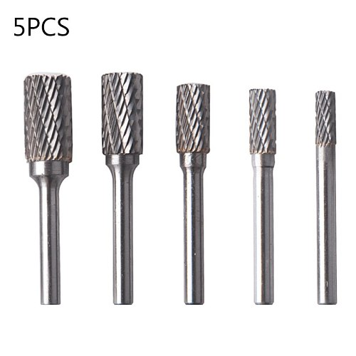 5pcs Tungsten Carbide Steel Rotary Burrs Set Grinding Head Rotary File Accessory