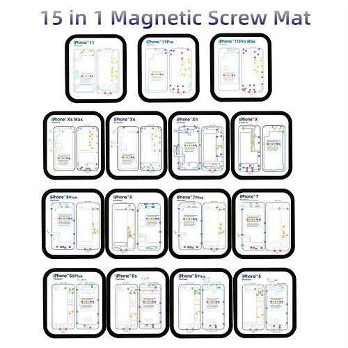 15 in 1 Magnetic Screws Mat Keeper Memory Chart Mat for iPhone 6 6S 7 8 X XS Max XR Teardown 12 in 1 Repair Guide Pad