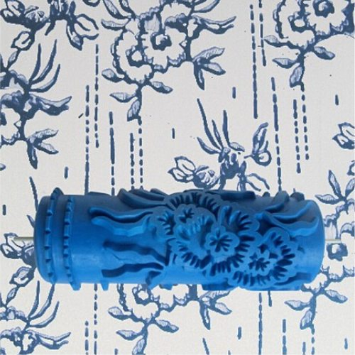 Tools accessories - 5inch 3D rubber wall painting roller, blue paint roller wall decoration without handle grip, 075Y