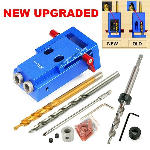 UPGRADED Mini Style Pocket Hole Jig Kit System for Wood Working & Joinery and Step Drill Bit & Accessories Wood Work Tool