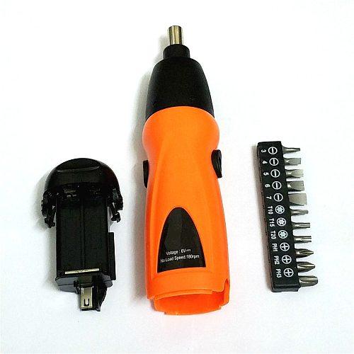 1 Set Electrics Screwdriver 6V Electric Battery Powered Cordless Screwdriver Drill Bit Tool /w 11 Screws