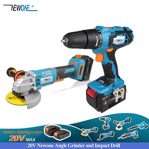 NEWONE 20V MAX Power Tool Combo Kit Brushless Angle Grinder Cordless Impact Drill/Screwdriver with Lithium Battery
