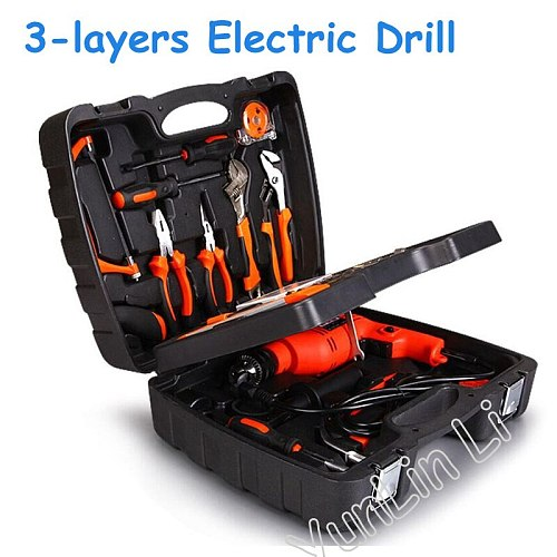 138pcs Three Layers Electric Drill Multi-Function Power Tools Kit Electric Impact Drill Set Home Drill Combination DIY Tools