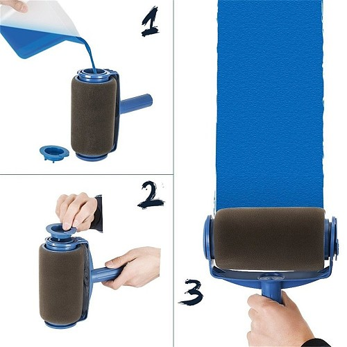 Seamless Paint Runner Pro Roller Brush Handle Tool Flocked Edger Wall Painting Roller Paint Brush Set Paint Roller with hat