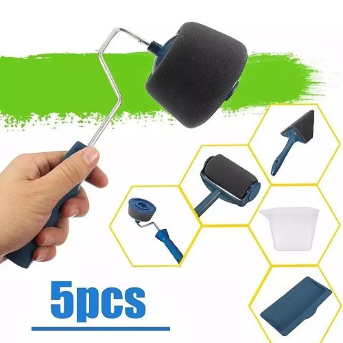 5pcs professional decorative paint roller Edger Office Room wall painting design paint runner pro roller brush handle tool Sets