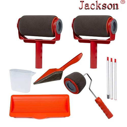 9pcs Seamless Paint Runner Pro Roller Brush Handle Tool Flocked Edger Office Wall Painting Roller Paint Brush Set Paint Roller