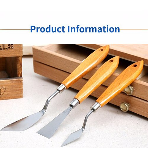 1Set 3Pcs Mixed Stainless Steel Palette Scraper Set Spatula Knives For Artist Oil Painting Tools Painting Knife Blade