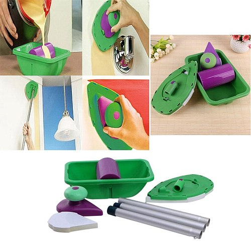TOP 9pcs/Set Household Painting Brush Decorative Hand Tools Multifunction Paint Roller Tray Sponge Pad Kits For Wall Decoration