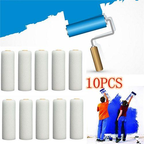 10Pcs/Set 100mm Mini White Durable Foam Paint Roller Sleeves Painting Decorating Sponge Rollers Art Sets Painting Supplies