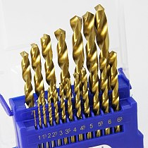 TASP 19pcs HSS Drill Bit Set for Metal & Wood 1.0~10mm Titanium Coated  with Storage Box Power Tools Accessories