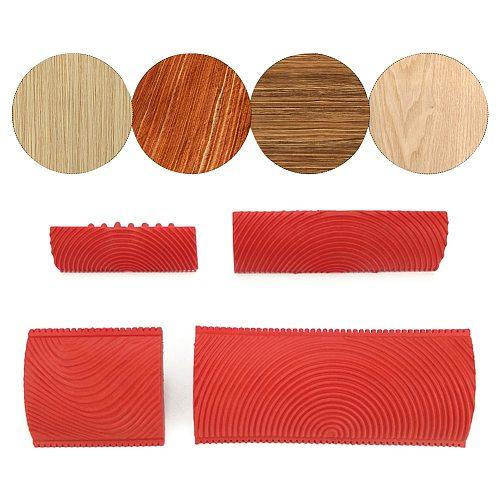 2pcs Imitation Wood Grain Decorative Brush Wall Texture DIY Household Art Tool Office Building Paint Roller Set Garden Rubber