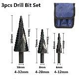 4-12/20/32mm 6-30mm HSS Cobalt Step Cone Drill Bit Nitride Coated Wood/Metal Hole Cutter Drill Spiral Groove Step Drill Bit