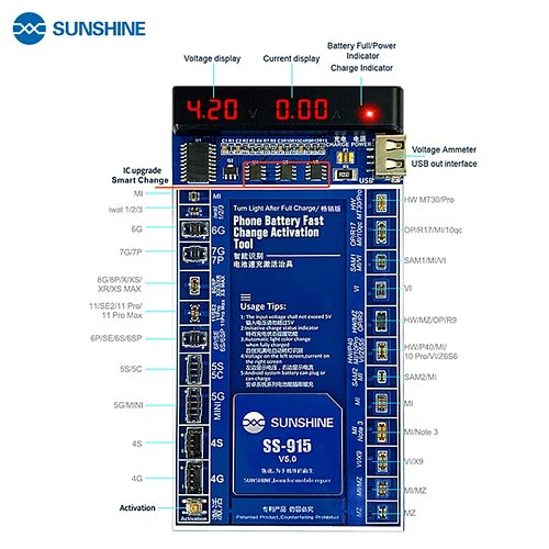 Latest SUNSHINE SS-915 Battery Activation Board For iPhone11 Pro Max /Pro/11/SE/XS Max/XR/XS/X/8P/8/7P/7/6SP/6P/6S/6/5/4/Android