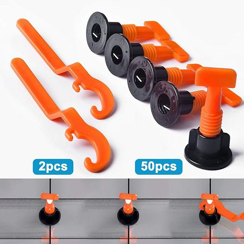Premium Tile Leveling System Kit With 50Pcs Tile Leveler Spacers, 2X Special Wrenches, Reusable Tile Installation Tool Kit For