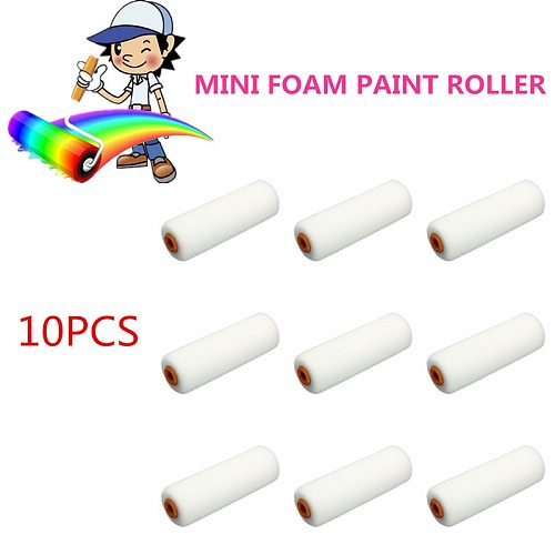 10PCS 100mm Mini White Durable Foam Paint Roller Sleeves Painting Decorating Sponge Rollers Art Sets Painting Supplies