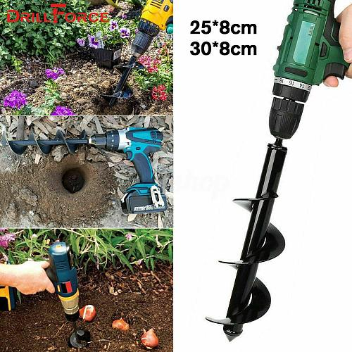 Drillforce Garden Planter Spiral Drill Bit Flower Bulb Hex Shaft Auger Yard Gardening Bedding Planting Post Hole Digger Tools
