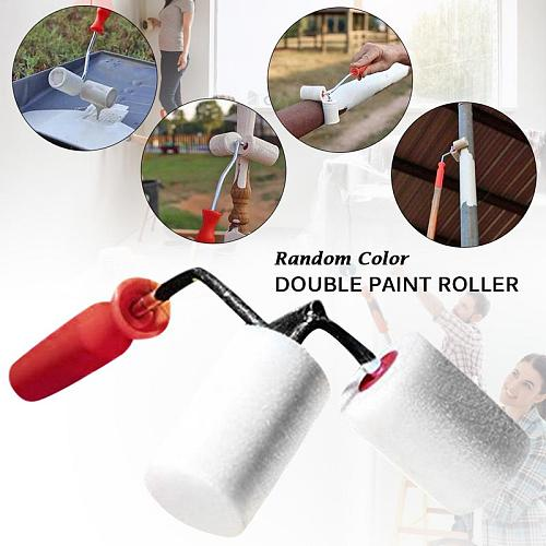 Double Sided Paint Roller Brush Roller Brush Painting Brushes Cylindrical Corner Painting Home Improvement Tools