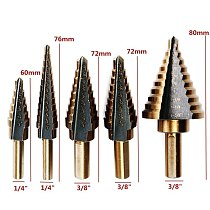 HSS Cobalt Multiple Hole 50 Sizes Step Drill Bit Set Tools Aluminum Case Metal Drilling Tools for Metal Wood Step Cone Drill