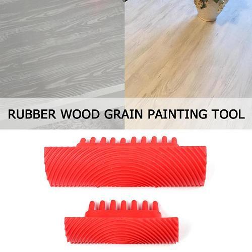 2pcs Rubber Paint Roller Cylinder Imitation Wood Grain Brush Wall Rodillo Pintura Home Wall Texture Art DIY Painting Tool Set