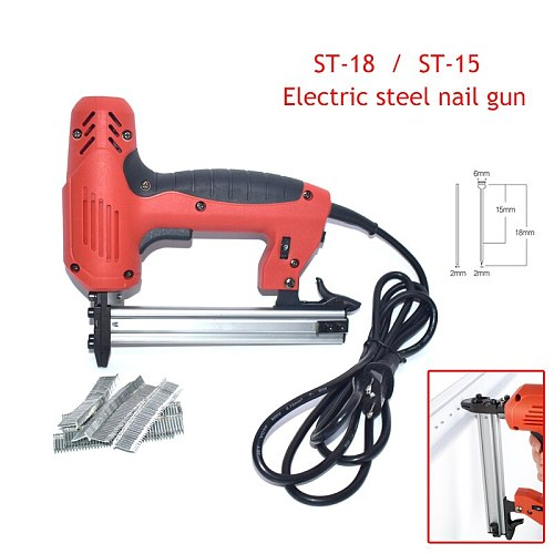 ST15/ST18 Electric Steel Nail Gun With 400pcs Nails Concrete Steel Nail Gun Wire Slotting Device Decoration Tools