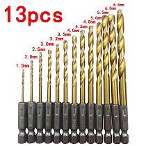 High quality 13pcs HSS hexagonal handle 6.35 mm twist drill electric screwdriver bit    1.5 - 6.5