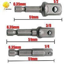 JIGONG 3 Sizes Socket Adapter Set 1/4 Hex Shank To 1/4  3/8  1/2  Socket Bit Adapter Drill Nut Driver Power Extension Bar Set