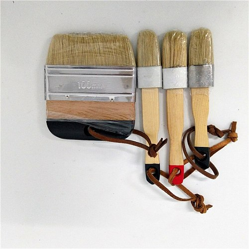 4PC Hand tool set Wooden Handle Chalk Paint Pointed Brush Bristle Chalk Oil Paint Painting Wax Brush Artist Art Supplies