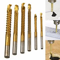 6pcs New 3-8mm Titanium Coated HSS Drill Bit Electric Drill Plastic Wood Hole Grooving Drill Saw Carpenter Woodworking Tools
